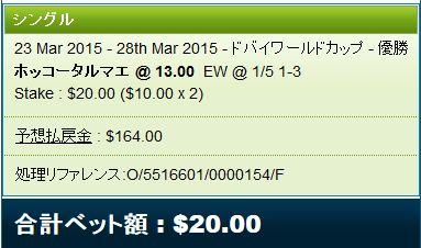 ホッコータルマエ単複馬券ドバイWC2015