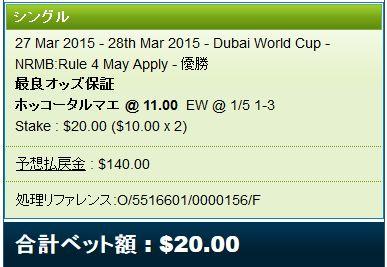 ドバイワールドカップ2015馬券追加