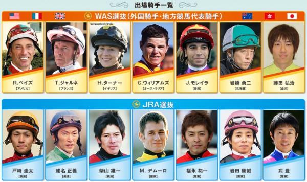 ワールドオールスタージョッキーズ2015出場騎手