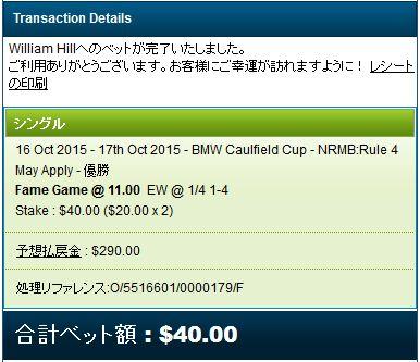コーフィールドC2015フェイムゲームの馬券購入