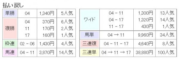 菊花賞2015払い戻し