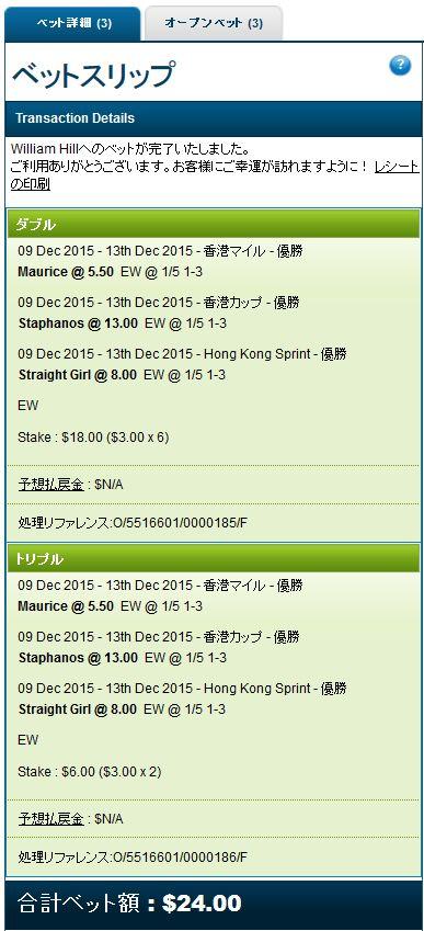 香港2015馬券購入3