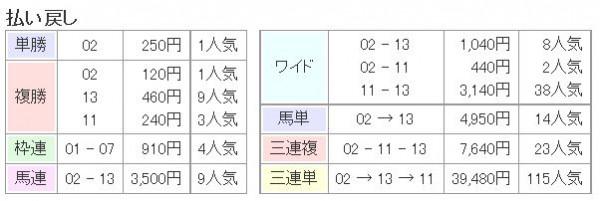 阪神JF2015払い戻し