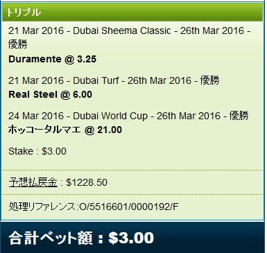 ドバイワールドカップWIN3馬券3ドル購入
