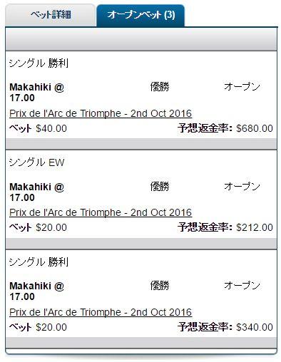 凱旋門賞2016マカヒキ馬券1